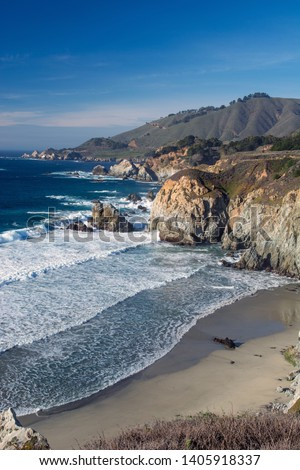 Big Sur California Waves on Cliffs #1405918337