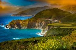 Big Sur Coast at the Bixby Creek Bridge, Monterey County, California, USA.