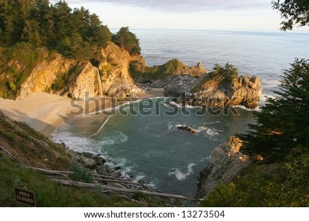 Big Sur is a sparsely populated region of the central California, United States coast where the Santa Lucia Mountains rise abruptly from the Pacific Ocean.