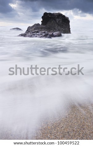 Big surf at Grenaways Beach North Cornwall. - stock photo