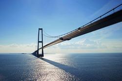 Big suspension bridge between Denmark and Sweden on Baltic sea