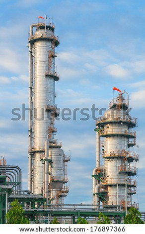 Big tanks of Refinery plant in cloudy day