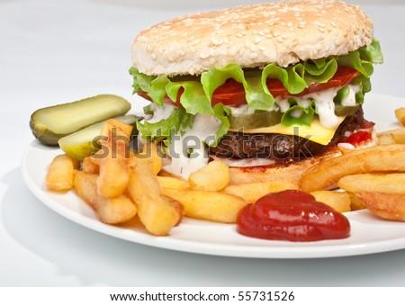 big tasty cheeseburger - stock photo
