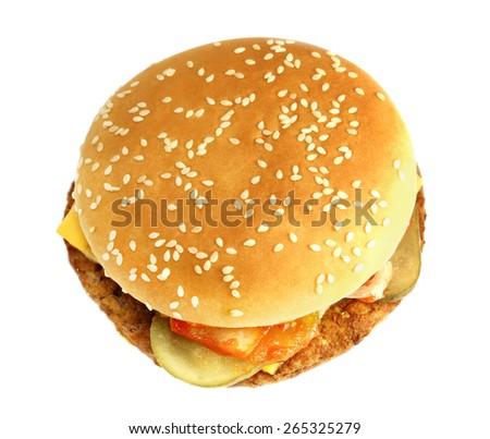 big tasty fresh burger on a white background #265325279