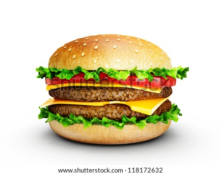 big tasty hamburger isolated on a white background