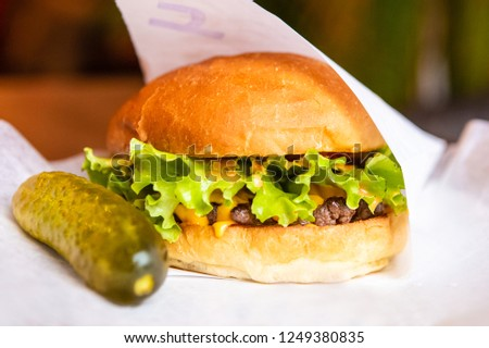 Big Tasty Sandwich - Hamburger Or American Burger With Beef And Pickled Cucumber, Pickles, Tomato And Sauce. Concept Fast And Unhealthy Food, Unhealthy Eating. #1249380835