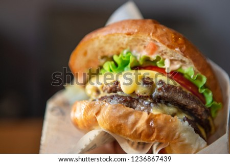Big Tasty Sandwich - Hamburger Or American Burger With Beef, Pickles, Tomato And Sauce. Concept Fast And Unhealthy Food, Unhealthy Eating.