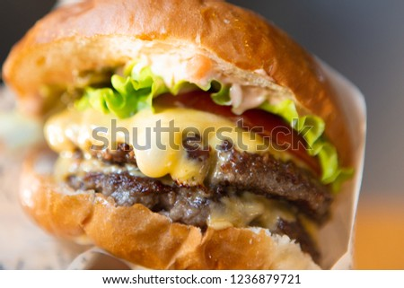 Big Tasty Sandwich - Hamburger Or American Burger With Beef, Pickles, Tomato And Sauce. Concept Fast And Unhealthy Food, Unhealthy Eating. #1236879721