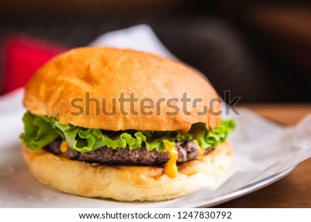 Big Tasty Sandwich - Hamburger Or American Burger With Beef, Pickles, Tomato And Sauce. Concept Fast And Unhealthy Food, Unhealthy Eating. #1247830792