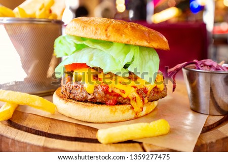 Big Tasty Sandwich - Hamburger Or American Burger With Beef, Pickles, Tomato And Sauce. Concept Fast And Unhealthy Food, Unhealthy Eating. #1359277475