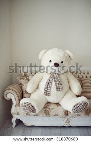 big Teddy bear at home on the bed