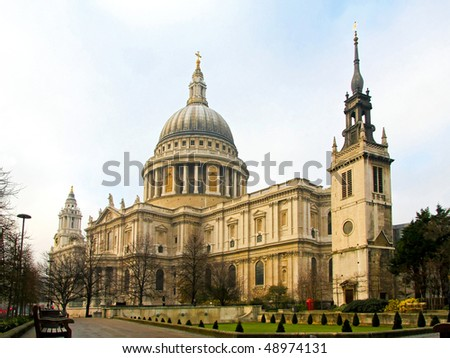 Big temple of St. Paul's cathedral in London