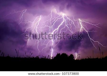 Big thunderbolt - stock photo