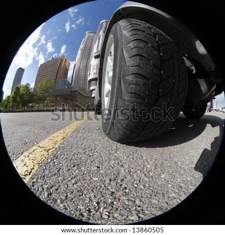 Big Tire  in fish eye view