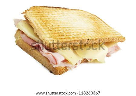 Big Toast Sliced with ham and cheese - stock photo
