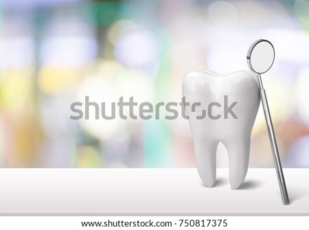 Big tooth and dentist mirror in dentist clinic on background