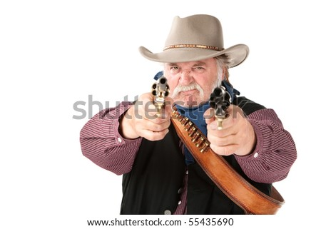 Big tough cowboy with leather holster pointing two pistols