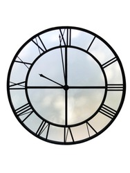 Big tower clock silhouette on white background