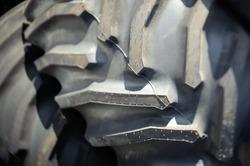 Big tractor wheel closeup