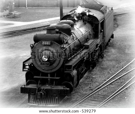 Big train, black and white photo of a steam engine