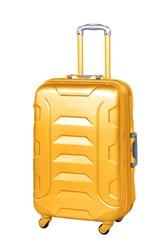 Big travel suitcase on wheels isolated white.