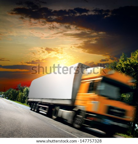 big truck on the asphalt road