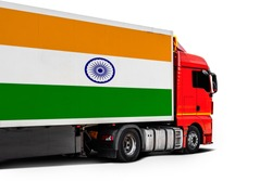Big  truck with the national flag of  India