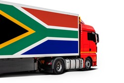 Big  truck with the national flag of  South African Republic on white isolated background, side view. Concept of export-import,transportation, national delivery of goods