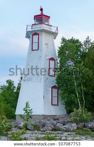 Big Tube Lighthouse in Tobermory Ontario was constructed in 1885. Played an important role guiding ships into the harbor from the waters of Lake Huron and Georgian Bay.