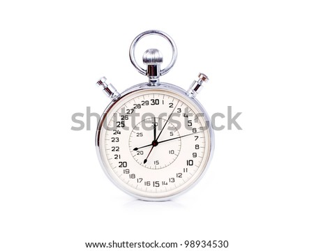 Big two buttons stopwatch isolated on white background - stock photo