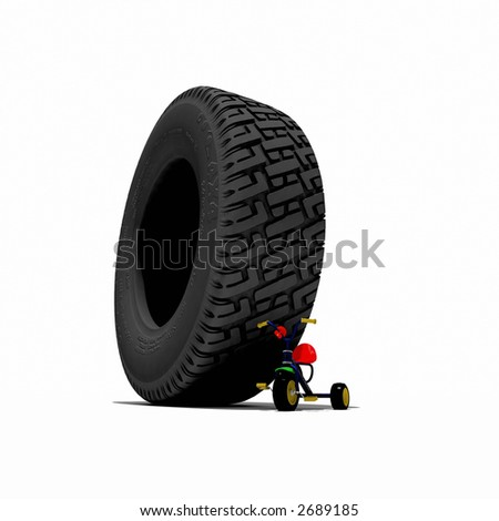 big tyre over the small child bycycle