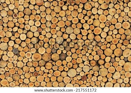Big wall made from brown log wood