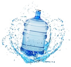 big water bottle in water splash isolated on white background