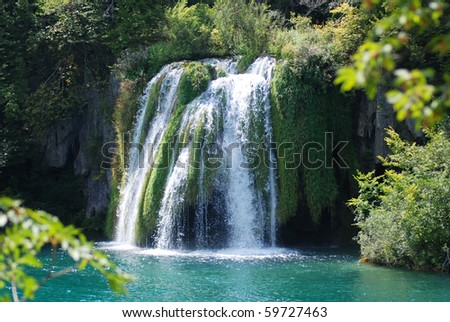 big waterfall view in the national Park of Plitvice in Croatia