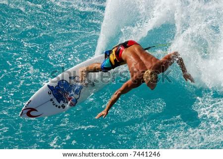 Big wave surfing Honolua Bay Maui Hawaii