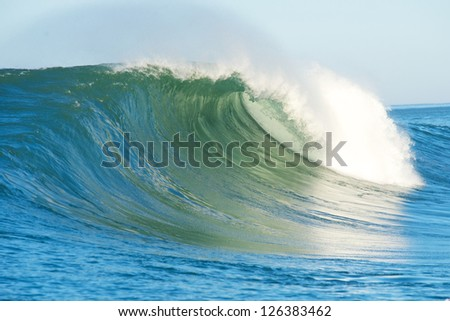 Big waves crashing at Half Moon Bay California during the Maverick Invitational surf competition