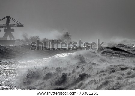 Big waves during a storm in the Portuguese coast - north side of Leixoes harbor - Porto
