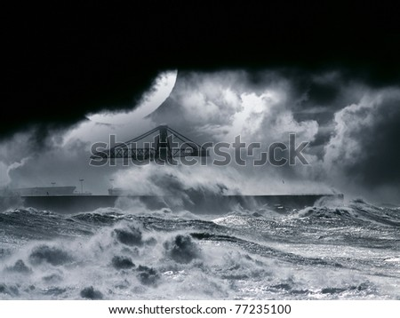 Big waves during a storm in the Portuguese coast - north side of Leixoes harbor - Porto; enhanced sky