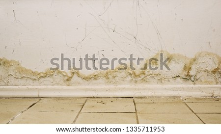 Big wet spots and cracks and black mold on the wall near flour in domestic house room after heavy rain and lot of water - Image Foto stock ©