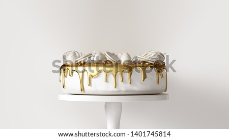 Big White and Gold Luxury Cake with Strawberries and Round Biscuits 3d illustration 3d render Foto stock ©