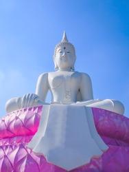 Big white Buddha statue Sitting on a pink lotus flower
