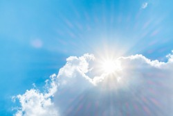 Big white cloud and light ray behind cloud with blue sky.