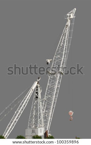 big white crane isolated over gray background