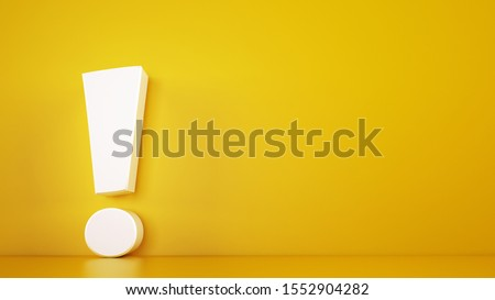 Big white exclamation mark on a yellow background. 3D Rendering Stock photo ©