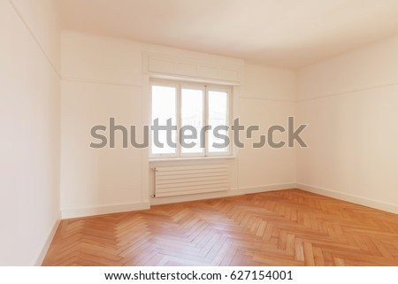 big white room with a window, nobody inside #627154001