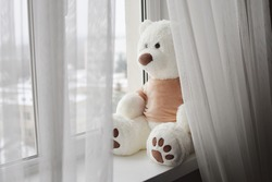 Big white teddy bear toy is sitting at the window, looking out. Selective focus.