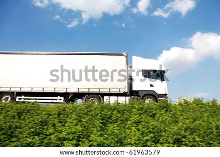 Big white truck - stock photo