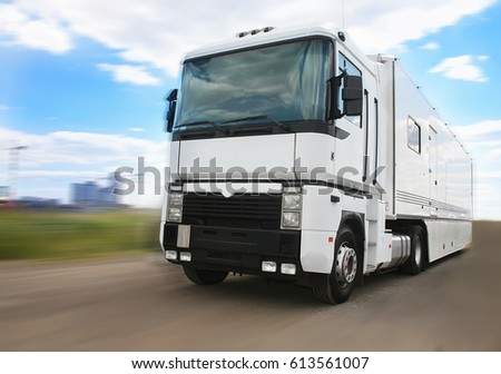 big white truck goes on the highway #613561007