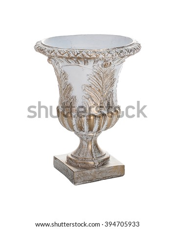 Big white vase with a golden pattern isolated on a white background