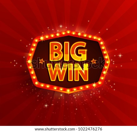 Big win retro banner with glowing lamps. Illustration for winners of poker, cards, roulette and lottery, casino. Vintage light frame. Red background. Raster copy.
